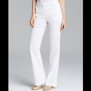Theory Emery Crunch White Stretch Linen Trousers